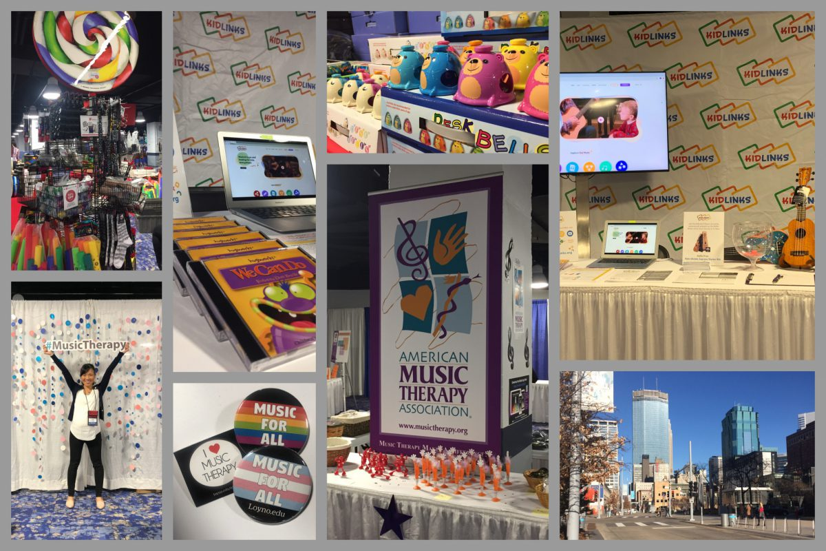 A collage of various scenes from the AMTA conference, including KidLinks' booth, business cards and signs