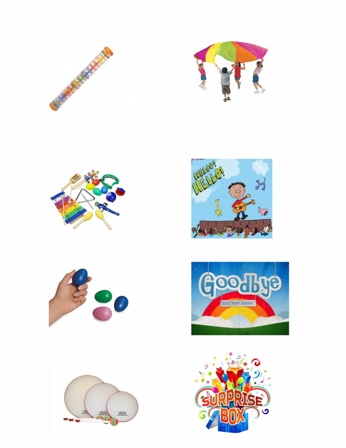 "Illustration of various activities including egg shakers, xylophone and a ""Surprise Box"""
